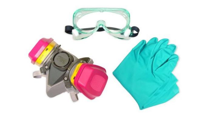 Маска, респиратор и перчатки